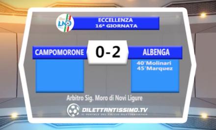 CAMPOMORONE – ALBENGA 0-2 – HIGHLIGHTS DELLA PARTITA