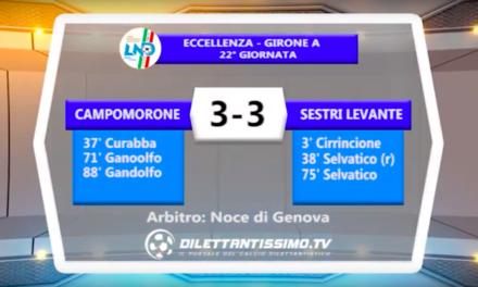 CAMPOMORONE – Sestri Levante: HIGHLIGHTS DELLA PARTITA + INTERVISTE