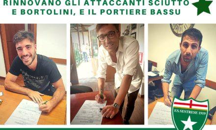 Sestrese: Bortolini, Sciutto e Bassu rimangono in verdestellato