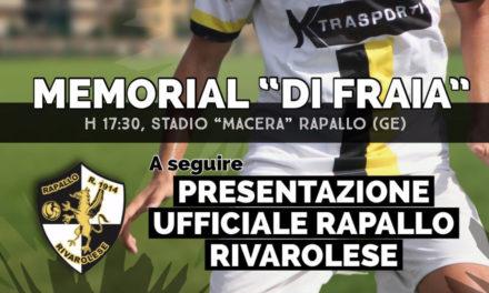 """Rapallo Rivarolese: Memorial """"Di Fraia"""" e presentazione ufficiale"""