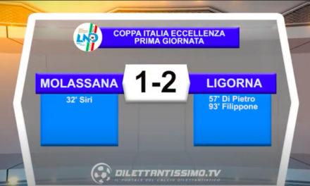 Coppa Italia Eccellenza: Molassana-Ligorna 1-2, gli highlights della partita