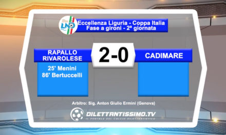 VIDEO – Rapallo Rivarolese – Cadimare 2-0: le immagini del match