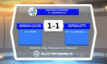 VIDEO: GENOVA CALCIO- OSPEDALETTI 1-. HIGHLIGHTS e INTERVISTE