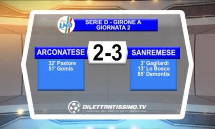 VIDEO – Arconatese-Sanremese 2-3: le immagini del match