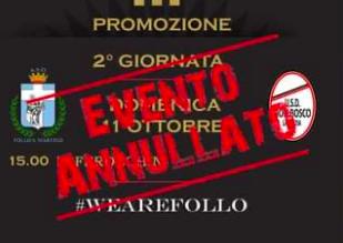Promozione B: rinviata d'ufficio Follo San Martino-Don Bosco Spezia