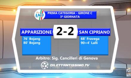VIDEO – APPARIZIONE – SAN CIPRIANO 2-2: le immagini del match e le interviste