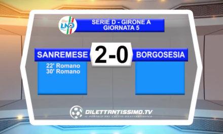 VIDEO – SANREMESE – BORGOSESIA 2-0: le immagini del match