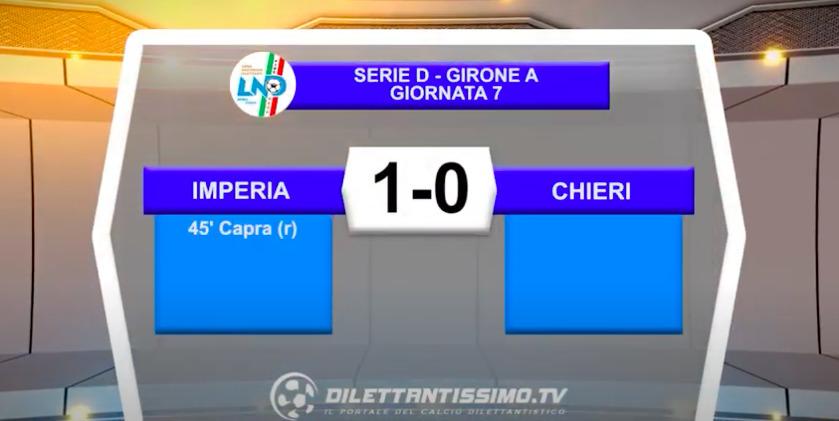 VIDEO – IMPERIA-CHIERI 1-0: le immagini del match e le interviste