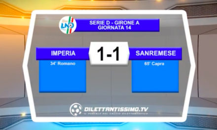 VIDEO|IMPERIA-SANREMESE 1-1: LE IMMAGINI DEL MATCH E LE INTERVISTE