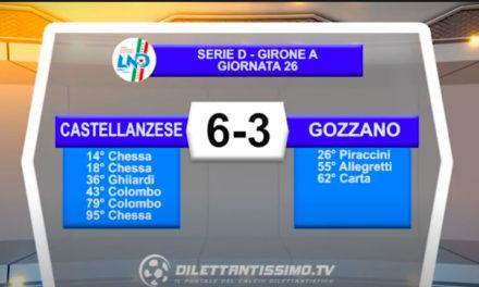 VIDEO CASTELLANZESE-GOZZANO 6-3 : LE IMMAGINI DEL MATCH
