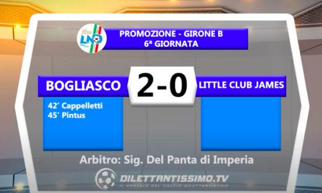 BOGLIASCO – LITTLE CLUB JAMES 2-0: GLI HIGHLIGHTS DELLA PARTITA